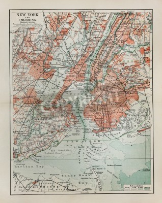 Vinilo New York old map from the end of 19th century