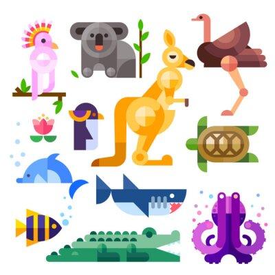 Vinilo Nice flat Australian animals: kakadu, kangaroo, parrot, koala, emu, ostrich, dolphin, penguin, turtle, shark, clown fish, crocodile, octopus. Flat vector illustration set.