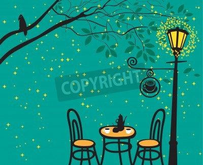 Vinilo night landscape with night cafe in the streetlight