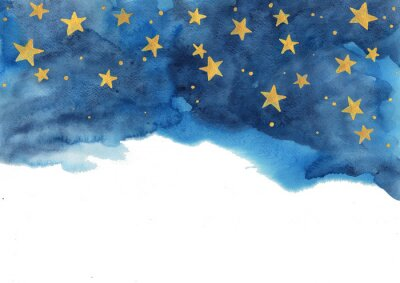 Vinilo Night sky and gold star watercolor hand painting  for decoration on winter season and Chritsmas holiday.