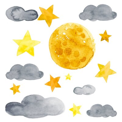 Vinilo Night sky with moon, stars and clouds watercolor illustration set
