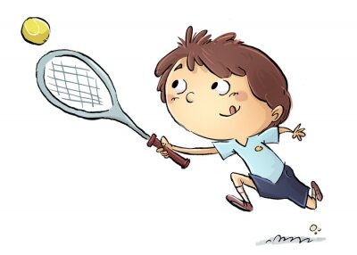 Vinilo Niño jugando a tenis