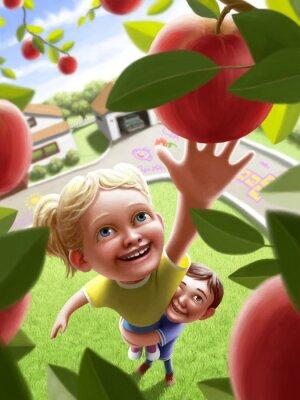 Vinilo Niños que alcanzan para una manzana