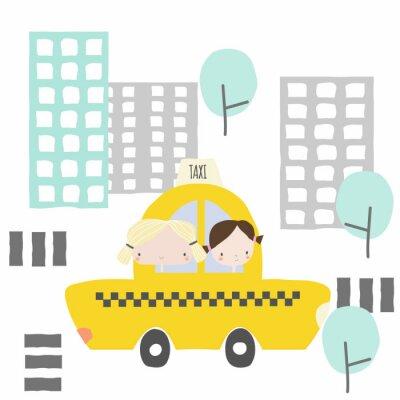 Vinilo Novias alegres en un viaje en taxi a la ciudad. Gráfico para niños. Vector dibujado a mano ilustración.
