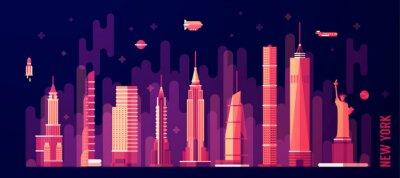 Vinilo Nueva York ciudad horizonte vector plana estilo