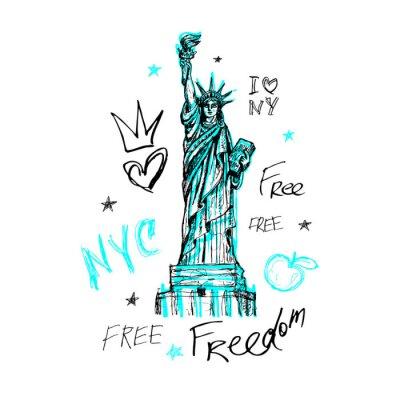 Vinilo Nueva York, diseño de camiseta, póster, impresión, letras de la estatua de la libertad, mapa, gráficos de camiseta, moda, pincelada seca, marcador, bolígrafo de color, tinta, acuarela. Dibujado a mano