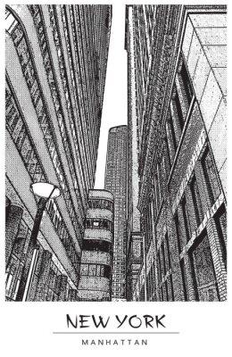 Vinilo Nueva York, Manhattan. Calle estrecha en el centro de la ciudad, paisaje urbano con famosos rascacielos. Ilustración de vector en estilo de grabado. Dibujo negro aislado sobre fondo blanco. Vista en p