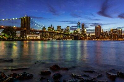 Vinilo Nueva York paisaje de puesta de sol con el puente de Brooklyn, EE.UU.