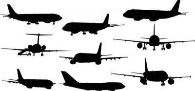 Vinilo nueve aviones siluetas aisladas en blanco