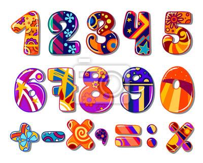 Numeros Coloridos Escuela De Dibujos Animados Vinilos Para