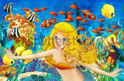 Vinilo Océano de dibujos animados y la sirena en el reino submarino nadando con peces - ilustración para niños