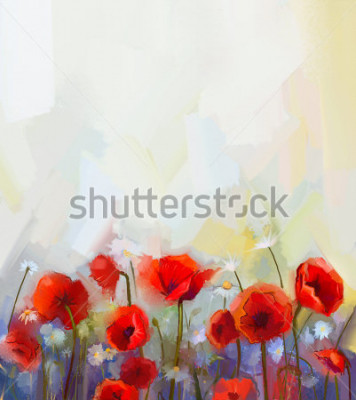 Vinilo Oil  painting red poppy  flowers.  Spring  floral nature background