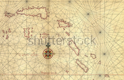 Vinilo Old map and Compass Rose