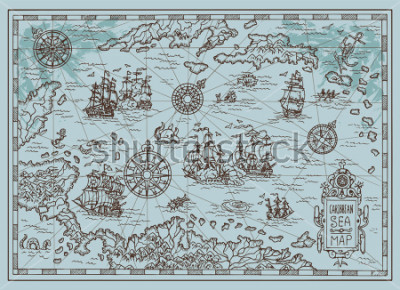 Vinilo Old map of the Caribbean Sea with pirate ships, treasure islands, fantasy creatures. Pirate adventures, treasure hunt and old transportation concept. Hand drawn vector illustration, vintage background