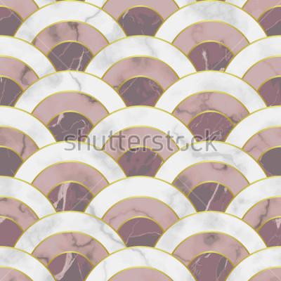 Vinilo Onda de patrones sin problemas de mármol. Fondo geométrico abstracto de la repetición. Fondo tradicional asiático, papel pintado de lujo con líneas doradas, estampado textil rosado y blanco, azulejo i