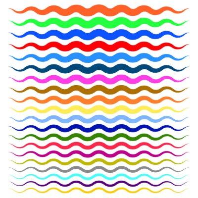 Vinilo Ondas onduladas coloridas, líneas en zigzag de gruesas a delgadas
