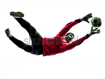 Vinilo one caucasian soccer player goalkeeper man catching ball in silhouette isolated white background