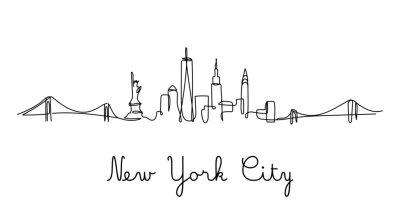 Vinilo One line style New York City skyline. Simple modern minimaistic style vector.