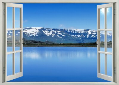Vinilo Open window panoramic view to snow mountains and lake