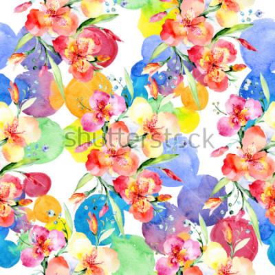 Vinilo Orange violas bouquet botanical flowers. Wild spring leaf wildflower. Watercolor illustration set. Watercolour drawing fashion aquarelle. Seamless background pattern. Fabric wallpaper print texture.