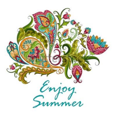 Vinilo Ornamento decorativo étnico de Paisley para la impresión. Diseño floral dibujado a mano ilustración.