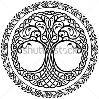 Vinilo Ornamento del vector, árbol de la vida celt decorativo con borde redondo floral