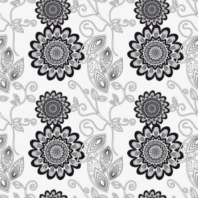 Vinilo Ornamento floral en blanco y negro.