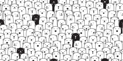 Vinilo Oso de patrones sin fisuras vector oso polar raza bufanda aislado dibujos animados ilustración azulejo fondo repetir papel tapiz doodle