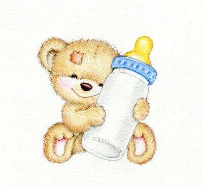 Vinilo Oso de peluche con una botella de leche