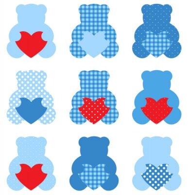Vinilo Oso de peluche lindo con los corazones fijados aislados en blanco (azul y rojo)