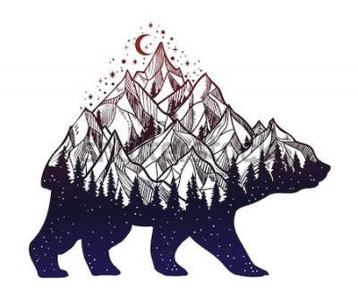 Vinilo Oso y paisaje de montaña del bosque nocturno, doble exposición, arte del tatuaje de vida silvestre, estilo de fantasía. Vector ilustración aislada