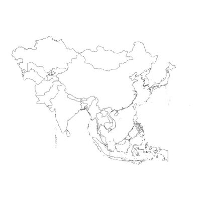 Vinilo Outline on clean background of the continent of Asia
