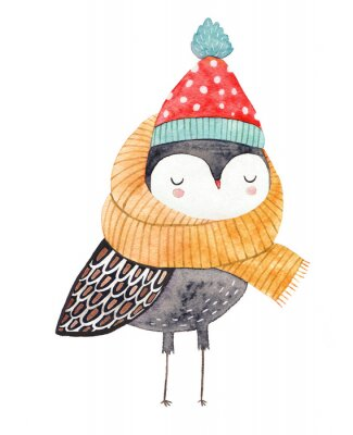 Vinilo owl in a scarf and hat - watercolor drawing