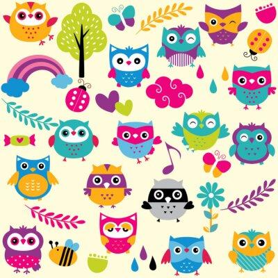 Vinilo owls and elements clip art set