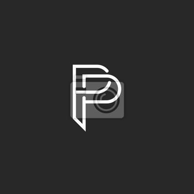 P Logo Letra Del Monograma Invitación Maqueta O Tarjeta De