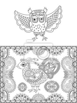 Página de dibujo lineal en blanco y negro original de pájaro vinilos ...