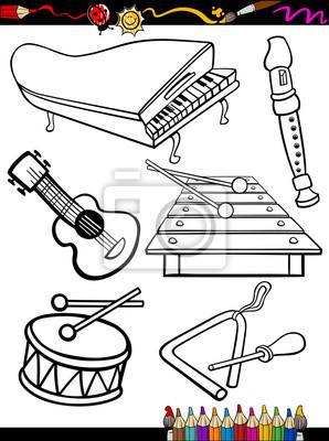 Vinilo Página De Instrumentos De Música De Dibujos Animados Para Colorear