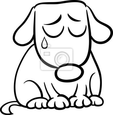 Vinilo Página Para Colorear De Dibujos Animados De Perro Triste