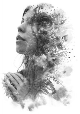 Vinilo Paintography. Double Exposure portrait of a young beautiful woman with hand on chest combined with hand drawn ink and pen drawing