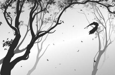 Vinilo Paisaje con un búho volador