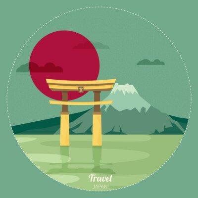 Vinilo Paisaje de diseño plano de Japón ilustración vectorial