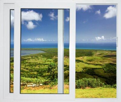 Vinilo Paisaje de la naturaleza con una vista a través de una ventana