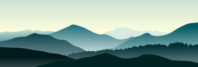 Vinilo Paisaje de montaña en la mañana de verano. Ilustración vectorial Horizontal.