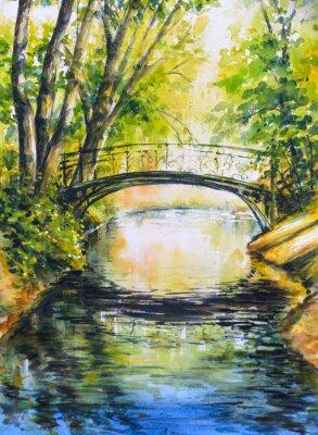 Vinilo Paisaje de verano con puente sobre el río en park.Picture creado con acuarelas.