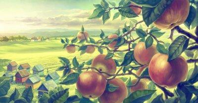 Vinilo Paisaje de verano con ramas de manzana. Pintura digital.