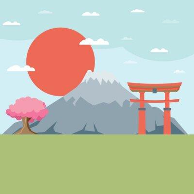 Vinilo Paisaje Diseño plano de Japón ilustración vectorial