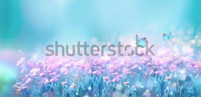 Vinilo Paisaje natural de primavera floral con flores de color lila rosa salvaje en Prado y aleteo de mariposas sobre fondo de cielo azul. Imagen artística soñadora de aire suave. Enfoque suave, procesamient
