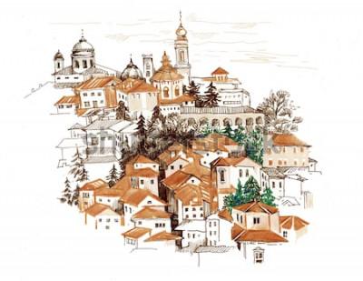 Vinilo Paisaje urbano de acuarela con ilustración de casas.