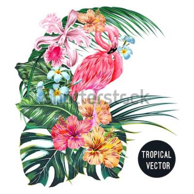 Vinilo Pájaro flamenco rosado, flores tropicales, hojas de palma, monstera, plumeria, hibisco, flor de orquídea, composición de hojas de la selva. Ilustración botánica de plantas exóticas de vectores aislado