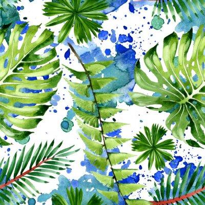 Vinilo Palm beach tree leaves jungle botanical. Watercolor background illustration set. Seamless background pattern.